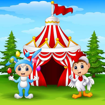 Circus girl rabbit costume and rooster kid on the circus tent background