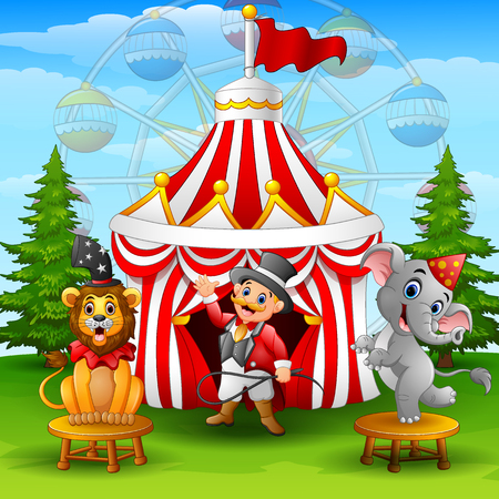 Vector illustration of Circus elephant and tamer on the circus tent background Ilustração