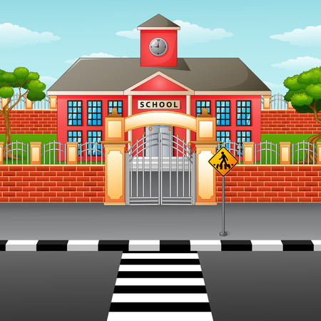 Vector illustration of School building with crosswalk
