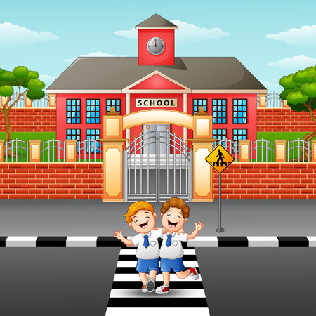 Vector illustration of Two students crossing the road