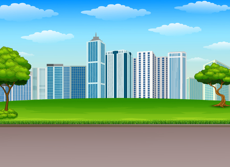 Vector illustration of City park with nature landscape and building background