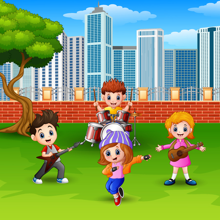playtime: Vector illustration of Children playing musical in the park