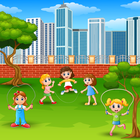 Vector illustration of Cartoon girls playing jumping rope in the park
