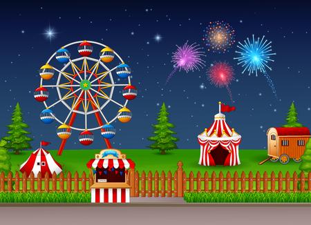 Vector illustration of Amusement park landscape at night with fireworks Illustration