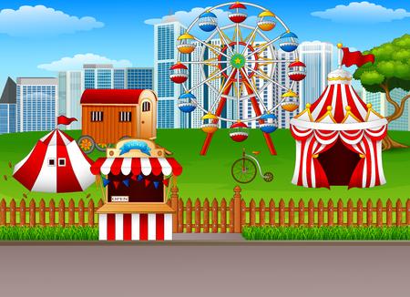 playground rides: Vector illustration of Amusement park background