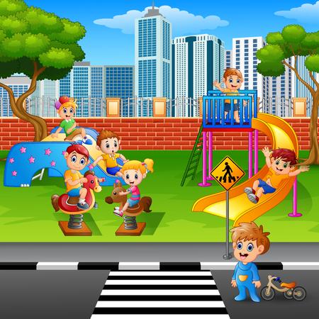 Vectorillustratie van kinderen die in de speelplaats spelen Stockfoto - 83761074