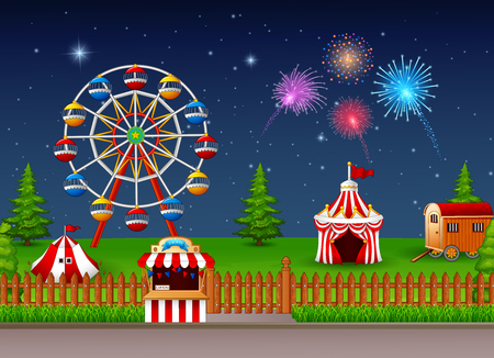 playground rides: Amusement park landscape at night with fireworks
