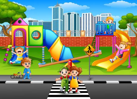 Enfants jouant dans le terrain de jeu Banque d'images - 83597105