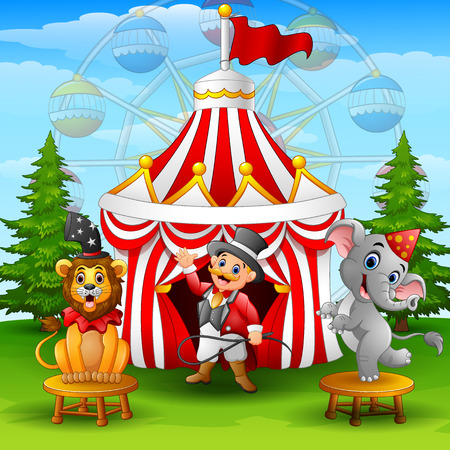 Circus elephant with lion and tamer on the circus tent background