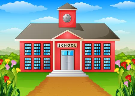 Cartoon schoolgebouw met groene tuin.