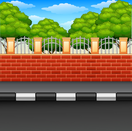 A scenery of a street with brick fences and green plants. Vector Illustration