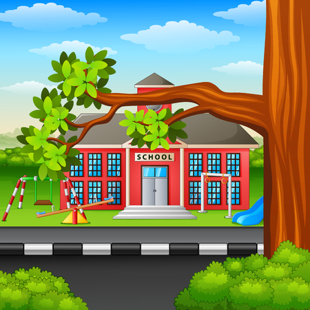 Vector illustration of Scene school building and tree branch Illustration