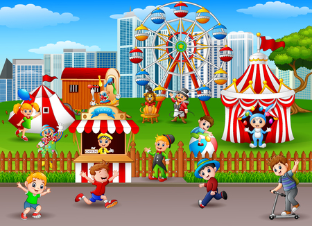 playground rides: Children having fun at the amusement park.