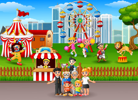 playground rides: Family members recreation in the amusement park. Illustration