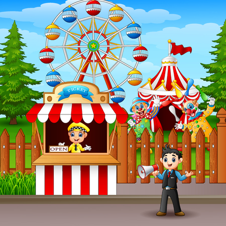 People working at the amusement park.
