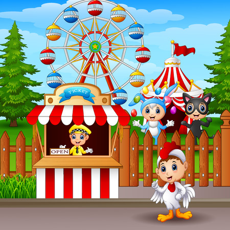 Cartoon amusement park.