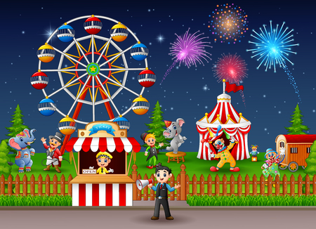 playground rides: Amusement park landscape at night with fireworks.