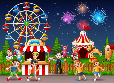 playground rides: Happy children and people working at the amusement park. Illustration