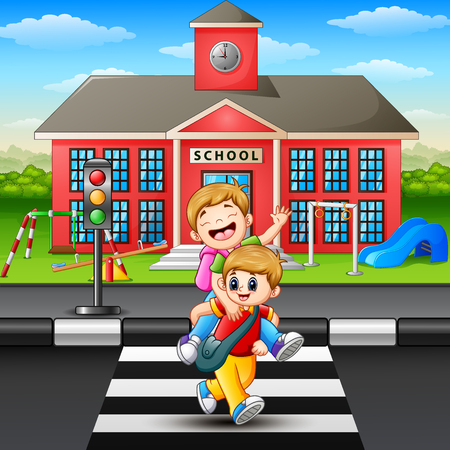 Vector illustration of Two boy crossing the road