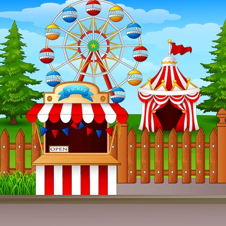 playground rides: Amusement park with ferris wheel, ticket booth and circus tent