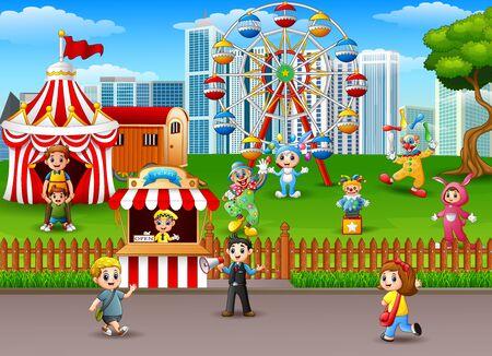 playground rides: Family at amusement park