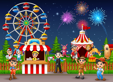 playground rides: People worker in the amusement park at night