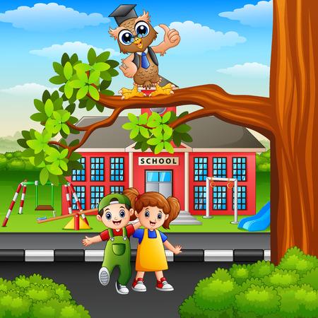 Happy children with owl on street tree branch Stock Photo