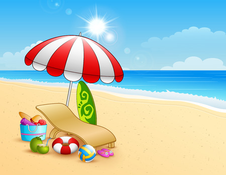 inflatable ball: Vector illustration of Summer beach background Illustration