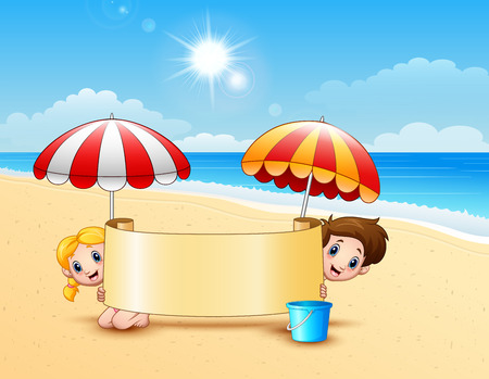 hot couple: Vector illustration of Two kids in the beach holding empty signboard Illustration