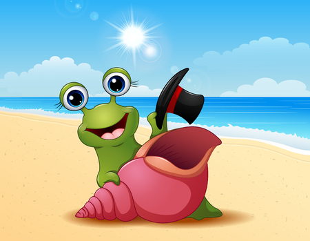 dna smile: Vector illustration of Smiling snail cartoon on summer beach