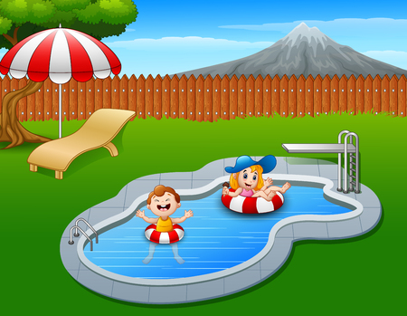 Vector illustration of Kids floating on inflatable ring in the pool Illustration