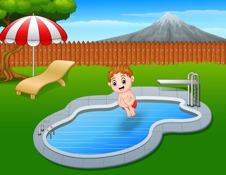 boy swim: Vector illustration of Cartoon boy jumping in swimming pool