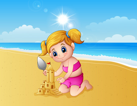 Vector illustration of Girl making sand castle at the beach