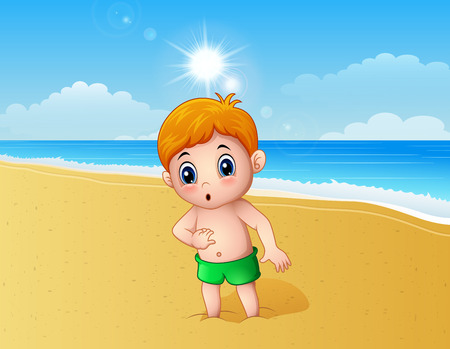 Vector illustration of Boy playing a sand using his feet at the beach