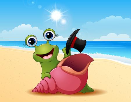 Smiling snail cartoon on summer beach