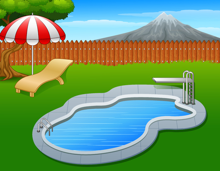 diving board: Swimming pool summer Stock Photo