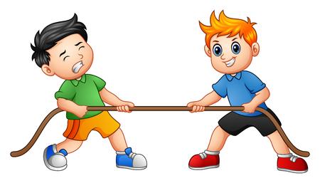 Wektorowa ilustracja bawić się zażartą rywalizację Śliczni dzieci