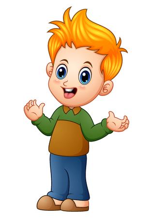 Vector illustration of Cute little boy cartoon