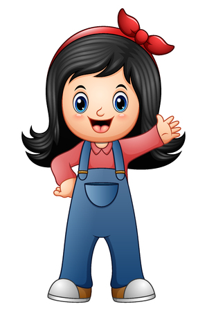 Vector illustration of Little girl in blue overalls