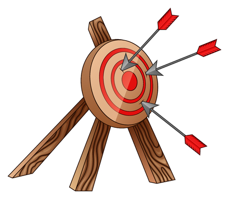 pointed arrows: Vector illustration of Archery target and arrow Illustration