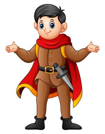 Vector illustration of Cute cartoon prince Illustration