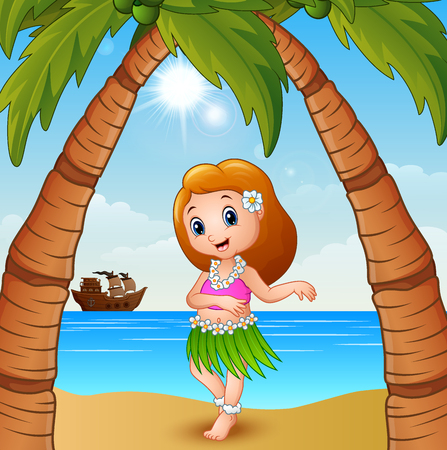 Vector illustration of Hawaiian dancer girl on the beach