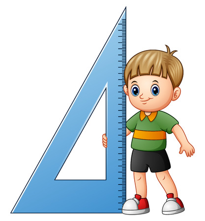 Cartoon boy holding triangle ruler