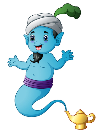 Cartoon genie coming out of a gold magic lamp Stock Photo
