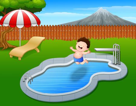 cartoon umbrella: Cartoon boy jumping in swimming pool Stock Photo