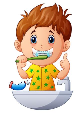 치아를 칫솔질 귀여운 소년