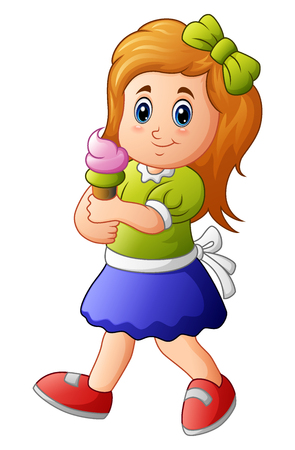 Young girl holding ice cream Stock Photo