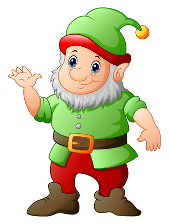Cartoon garden gnome waving hand