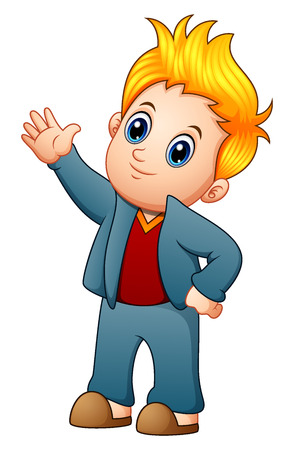 Cute blonde boy waving hand