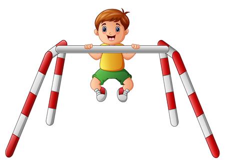 crossbar: Vector illustration of Little boy doing pull ups